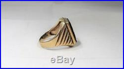 Vintage 10K Yellow Gold Signet Mens Ring Sz 10 K707