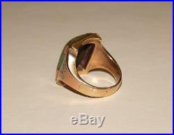 Vintage 10k & 14k Tri-Gold 15 x 20mm Turquoise Men's Ring Size 11 12.9 Grams