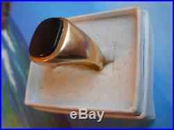 Vintage 10k Gold And 13.7x11.7mm Natural Black Onyx Men's Signet/ring Size 10