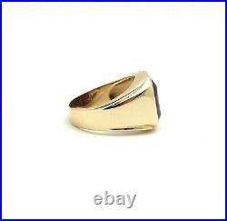 Vintage 10k Gold Emerald Cut 7ct Garnet January Birthstone Mens Ring