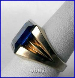 Vintage 10k Gold Mens Flat Face Royal Sapphire Blue Spinel Ring 6.2 gr Size 7.5