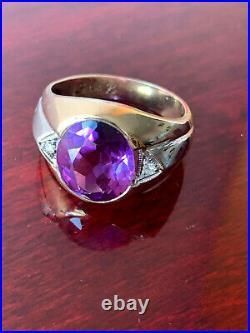 Vintage 10k Gold Purple Sapphire Alexandrite Diamond Gypsy Ring Men Woman Unisex