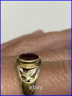 Vintage 10k Mens 2 Tone Ruby Eagle Ring Size 12