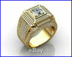 Vintage 10k Real Yellow Gold Round Cut 3.00 CT Diamond Wedding Mens Pinky Ring