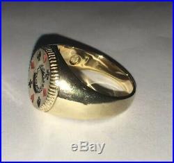Vintage 10k Solid Yellow Gold Enamel & Diamond Mens Gambler Ring