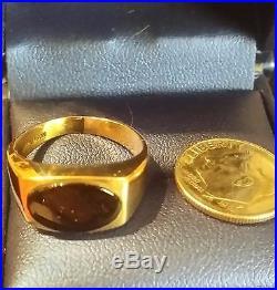 Vintage 10k Solid Yellow Gold Men's Genuine Black Onyx Ring Size 7.5 w. 5.2 grams