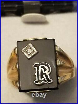 Vintage 10k Yellow Gold Diamond Onyx Initial Letter R Signet Mens Ring SZ 9.5