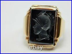 Vintage 10k Yellow Gold Hermatite Cameo Spartan Soilder Mens Ring Size 9.75