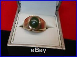 Vintage 10k Yellow Gold Men's Jade Ring Nice