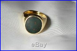 Vintage 10k Yellow Gold NATURAL SPECKLED Oval BLOODSTONE Men's Ring Free Ship