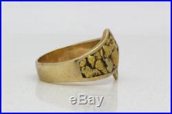 Vintage 10k Yellow Gold & Nugget Retro Mens Ring