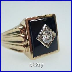 Vintage 10k Yellow Gold Onyx &. 45ctw Old European Cut Diamond Mens Ring Sz 12
