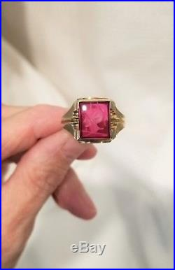 Vintage 10k yellow gold Mens Ruby Ring etched synthetic ruby warrior Sz 10 9.6g