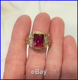 Vintage 10k yellow gold ruby diamond mens signet style ring 3.3g
