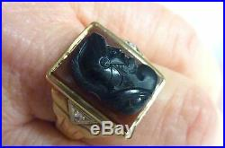 Vintage 10kt yg Onyx Carnelian cameo Men's Ring Zeus profile sz 10 I-4346