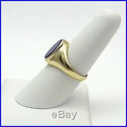 Vintage 14K Gold Blue Lapis Oval Bezel Set Unisex Mens Ring Sz 8