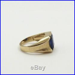Vintage 14K Gold Blue Sapphire September Birthstone Mens Ring Sz 10