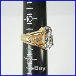 Vintage 14K Gold Diamond Masonic Mens Ring Sz 11 2-Tone Yellow White 19.5g gavel