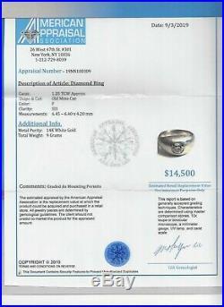 Vintage 14K Gold Diamond Men's Ring Old Mine Cut Diamond=1.25 F-SI1 Value=$14K+