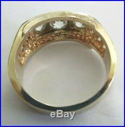 Vintage 14K Gold Diamond Men's Ring Old Mine Cut Diamonds=3.05 F-VS Value=$24K+