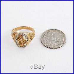 Vintage 14K Gold Horse Head in Good Luck Horseshoe Motif Diamond Men's Ring Sz10