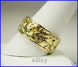Vintage 14k Gold Mens Infinity Wedding Band Ring With Nuggets Sz 11 C1970s