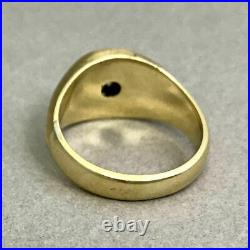 Vintage 14K Gold and Diamond Cluster Mens Ring Size 9.5