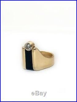 Vintage 14K Solid Yellow Gold Diamond & Black Onyx Men's Ring 9.5 Grams VS2, H