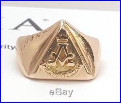 Vintage 14K Solid Yellow Gold Freemason Mens Pinky Ring Mors Vincit Omnia