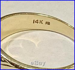 Vintage 14K Solid Yellow Gold Fritz Rossier Mens Diamond Ring 6.1gr No Scrap