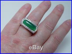 Vintage 14K White Gold Diamond Chalcedony Man Mens Ring Estate Heavy 22.9gr