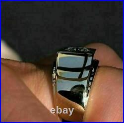 Vintage 14K White Gold Over Mens 1.00 CT Round Cut Diamond Solitaire Pinky Ring