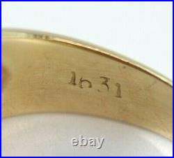 Vintage 14K YELLOW GOLD, RED STAR SAPPHIRE Womens/Mens Stepped Ring/Band Size 9