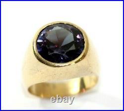 Vintage 14K YELLOW GOLD, Syn. Alexandrite Mens Band/Ring SIZE 9, 18.9 Grams