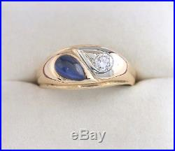 Vintage 14K YG Blue Gemstone & Diamond Ring Old Euro 1/4 Ct Gold Band Mens Gents
