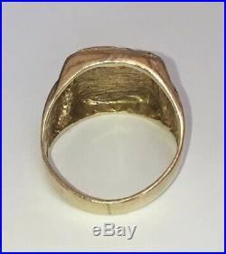 Vintage 14K Yellow Gold Cuba Cuban Coat Of Arms Men's Estate Ring Size 8.75