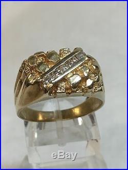 Vintage 14K Yellow Gold Men's Nugget 5 Stones Diamond Ring 1/4 CTW Sz 9.75