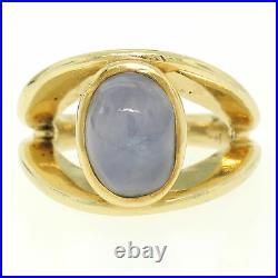 Vintage 14K Yellow Gold Split Shank Bezel Cabochon Blue Star Sapphire Mens Ring