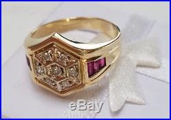 Vintage 14k Gold 0.75ct Diamond & Baguette Ruby Men's Ring Size 10 Estate Find