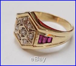 Vintage 14k Gold 0.75ct Diamond & Baquette Ruby Men's Ring Size 10 Estate Find