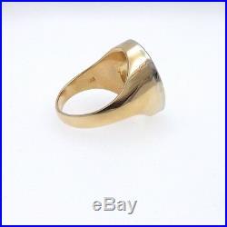 Vintage 14k Gold 2ctw Pavè Diamond Lucky Horseshoe Mens Ring & Appraisal Sz 12.5