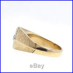 Vintage 14k Gold. 65ct Old European Cut Diamond Mens Ring Sz 10.5