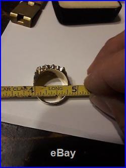 Vintage 14k Gold Diamond Nugget Heavy 12.8g Freeform Mens sz 8 Pinky Ring