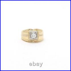 Vintage 14k Gold Diamond Solitaire Mens Unisex Pinky Ring
