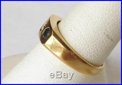 Vintage 14k Gold Gypsy Burnished Diamond+Sapphire 3 Stone Band Ring MensSz 7.75