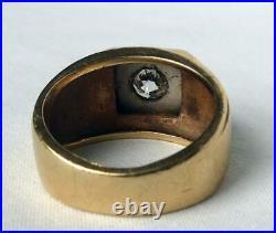 Vintage 14k Gold Mens 1.05Ct Old European Diamond Solitaire Ring Sz 8.25 11.2 gr