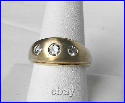 Vintage 14k Gold Mens. 71 Ct Diamond Gypsy Flush Set 3 Stone Dome Band Ring