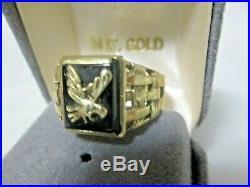Vintage 14k Gold Mens Ring Onyx Eagle 7 grams