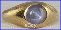Vintage 14k Gold Mens Womens Natural Star Sapphire Ring