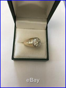 Vintage 14k Gold Platinum Diamond Mens Ring